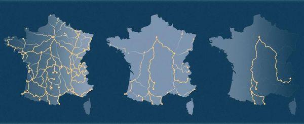 L'évolution des lignes de trains de nuit en France en 1981, 2010 et 2020