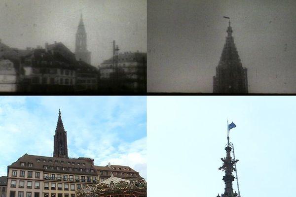 Le drapeau rouge sur la cathédrale en novembre 1918, et le drapeau européen en novembre 2018