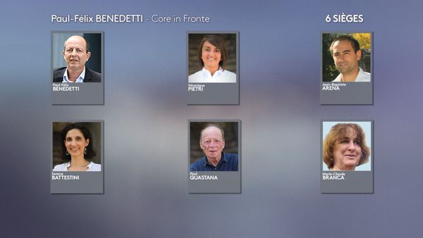 """Les élus de la liste """"Core in Fronte"""" menée par Paul-Félix Benedetti."""