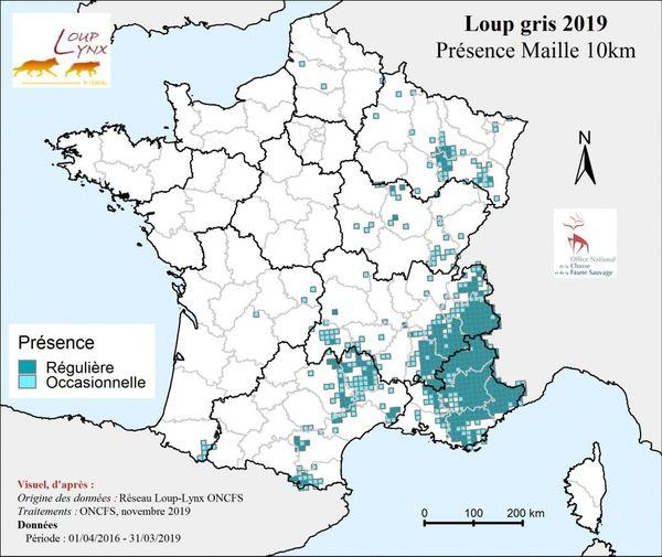 La carte de présence des loups est actualisée chaque année, lors du rapport de suivi hivernal.