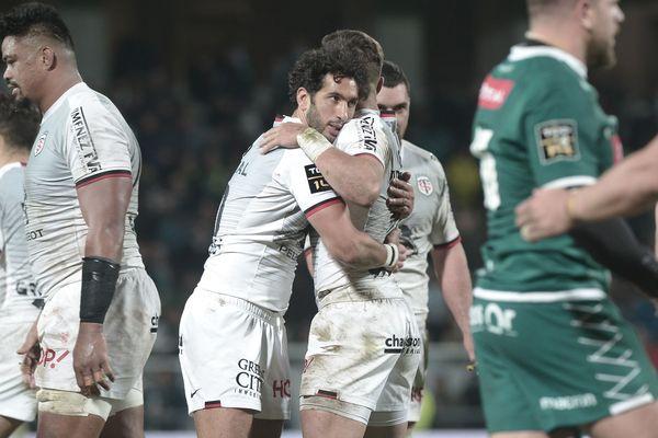 Les joueurs du Stade Toulousain jubilent à l'issue de leur rencontre contre Pau
