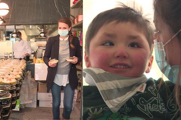 Le repas caritatif dans le restaurant de Vincent Favre Félix / le petit Victor le 20 mars 2021.