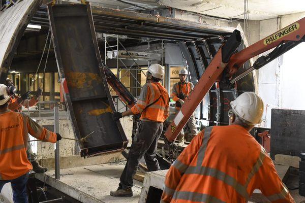 les travaux sur la ligne A du métro toulousain en juillet 2018.