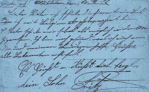 Carte postale envoyée du camp par Frederic à sa mère datée de 1916