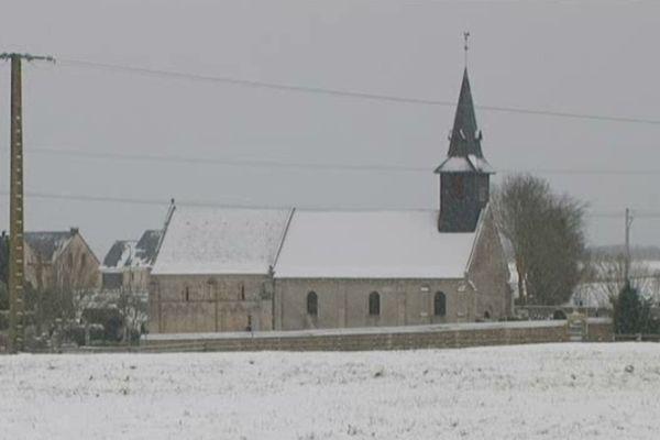 Averse de neige sur Maltot, près de Caen, archives janvier 2013