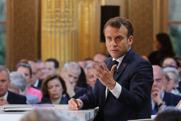 Emmanuel Macron lors de la conférence de presse à l'Elysée, jeudi 25 avril 2019