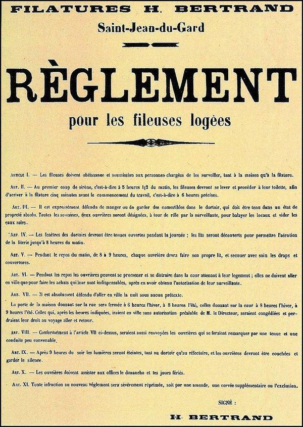 Le règlement pour les fileuses logées de Saint-Jean-du-Gard illustre la dureté des conditions de travail des très jeunes filles embauchées pour la fabrique de la soie.