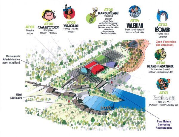 Implantation des attractions du parc Imagiland - La Couronne (Charente)
