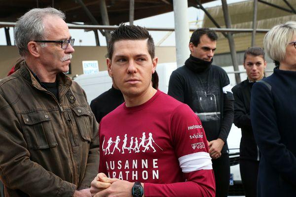 Jonathann Daval, lors de la course en mémoire de son épouse, avant d'avouer l'avoir tuée.