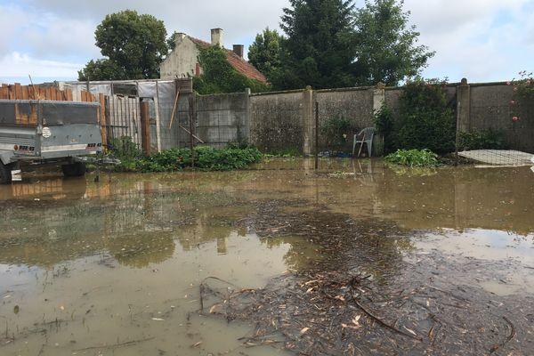 Inondation à Paillencourt le 18 juin 2021, près de Hordain, dans le Nord.