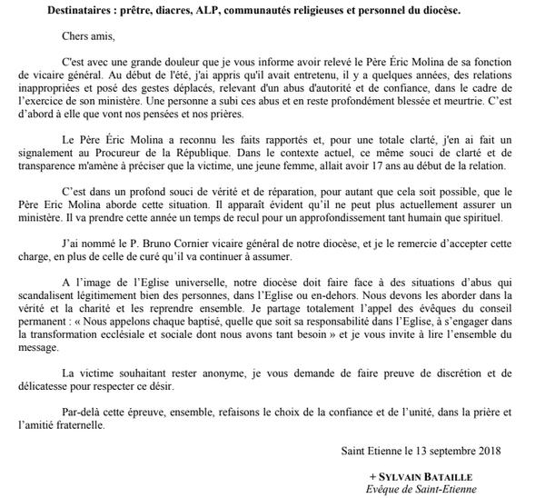 Lettre de l'évêque de Saint-Etienne, expliquant le départ du vicaire général le père Eric Molina