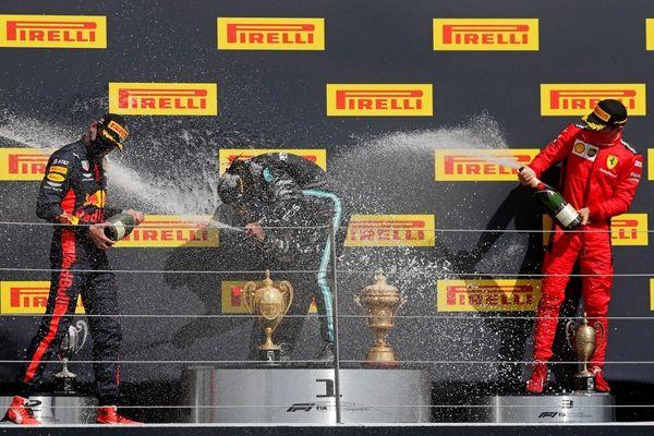 Charles Leclerc, en rouge, est arrivé 3e au Grand Prix de Grande-Bretagne le 2 août 2020.