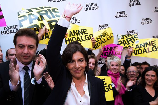 Anne Hidalgo, au moment de sa déclaration après les résultats du 1er tour des Municipales à Paris.