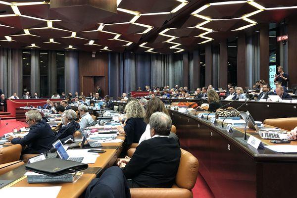 La salle du Conseil au Conseil Régional de Bourgogne-Franche-Comté à Dijon, le 11 octobre 2019