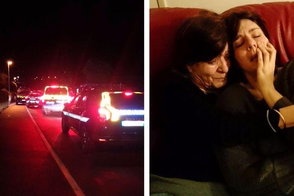 Intervention des gendarmes, vendredi 16 mars, pour récupérer les jumeaux à Langeac (43). Aude Torrent, dans les bras de sa mère, après leur départ.