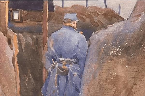 Une aquarelle sur une tranchée, signée Pierre Fournier