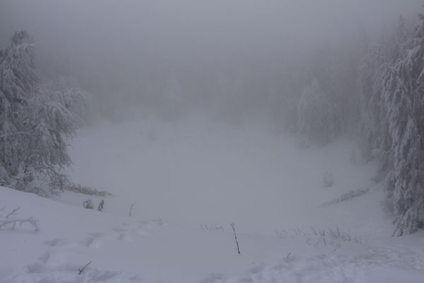 Le cratère du puy Montchal disparaît dans le jour blanc.