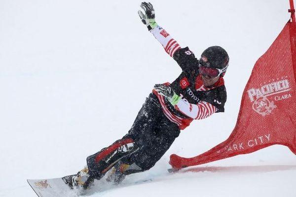 Sylvain Dufour pendant les éliminations du géant parallèle aux championnats du monde de snowboard à Park City (Utah- USA).