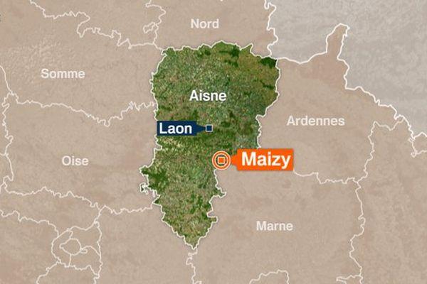 L'accident s'est produit sur la route des hautes rives à Maizy, dans l'Aisne.