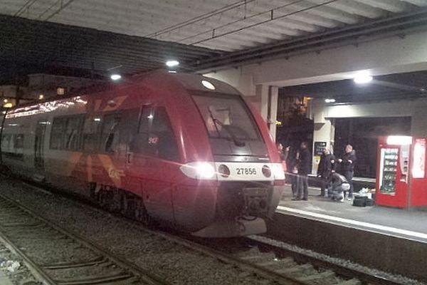 Montpellier - le TER Cerbère/Avignon où la rixe a éclaté faisant 2 blessés - 12 janvier 2015.