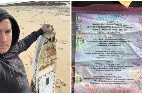 Antoine Sirjean à découvert ce mini-bateau (à gauche) - Le message en quatre langues des élèves de Melrose School à Jamestown Rhode Island (USA).