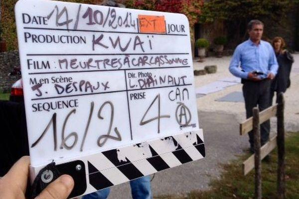 """Le tournage d'un épisode de """"Meurtres à Carcassonne"""" dans la cité - octobre 2014."""