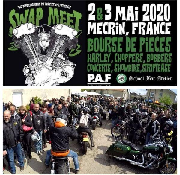 """L'affiche de la 23e édition de 2020, annulée ou reportée. En photo, l'ambiance du """"Swap meet"""" 2017, 20e édition."""