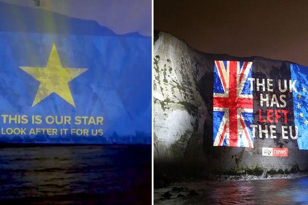 """Le Royaume-Uni a quitté l'union européenne : c'est le message qui a été projeté sur les White Cliffs ce vendredi soir juste après un autre """"C'est notre étoile, prenez-en soin"""""""