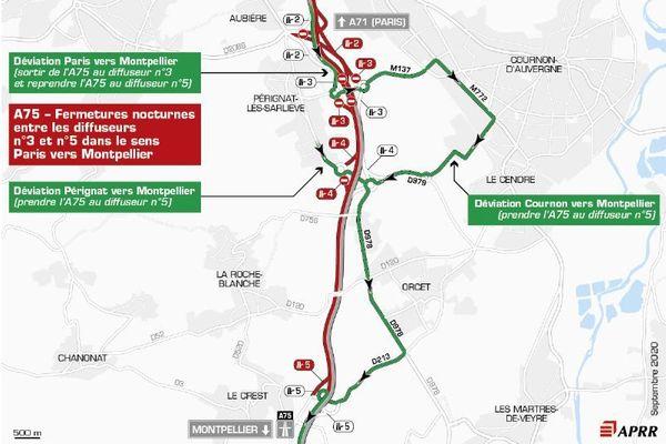 Les usagers de l'A75 devront emprunter les déviations les nuits des 7,8 et 9 septembre, près de Clermont-Ferrand.