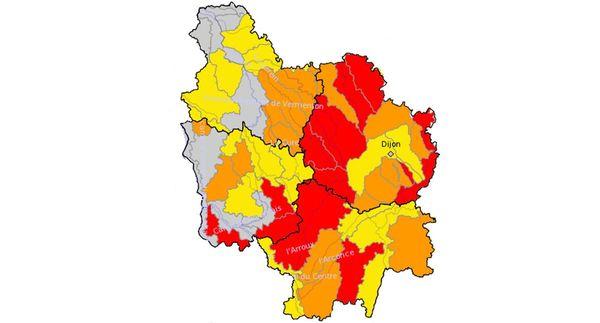 Carte des alertes sécheresse en Bourgogne au 5/08/2020