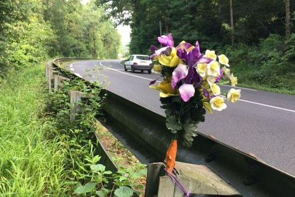 La famille du motard a placé un bouquet de fleurs sur lieu de l'accident, sur la D817, à Espoey (64).