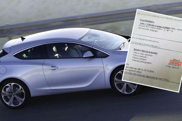 Opel Astra (image d'illustration). En médaillon, le PV des 696 km/h !