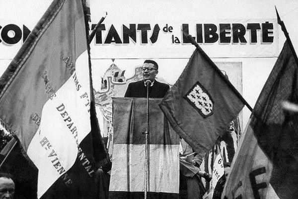 FRANCE, Limoges : photo prise dans les années 50 du maire de Limoges, ancien résistant, Georges Guingouin.
