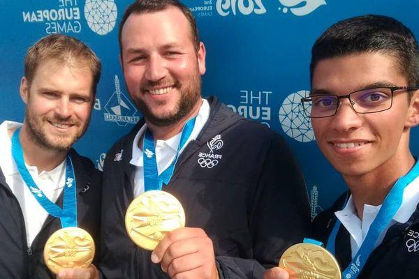 L'équipe de France masculine de tir à l'arc, composée de Jean-Charles Valladont, Pierre Plihon et Thomas Chirault, a remporté la médaille d'or de l'épreuve par équipes aux Jeux européens 2019