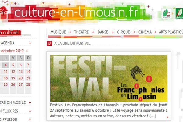 Capture d'écran du site culture-en-limousin.fr
