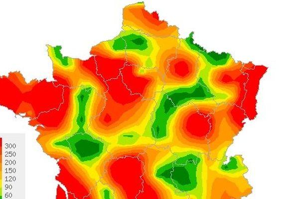 Situation Epidémiologique en France métropolitaine Semaine 2 du 06/01/2014 au 12/01/2014, nombre de cas pour 100 000 habitants.