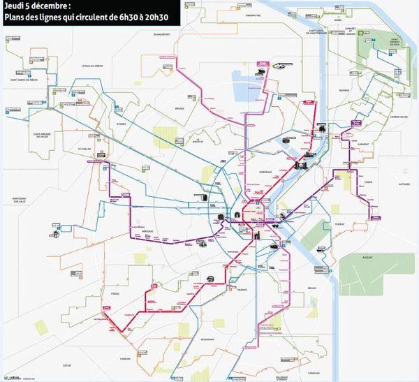 Sur cette carte, les lignes de bus en circulation pour la journée du 5 décembre 2019