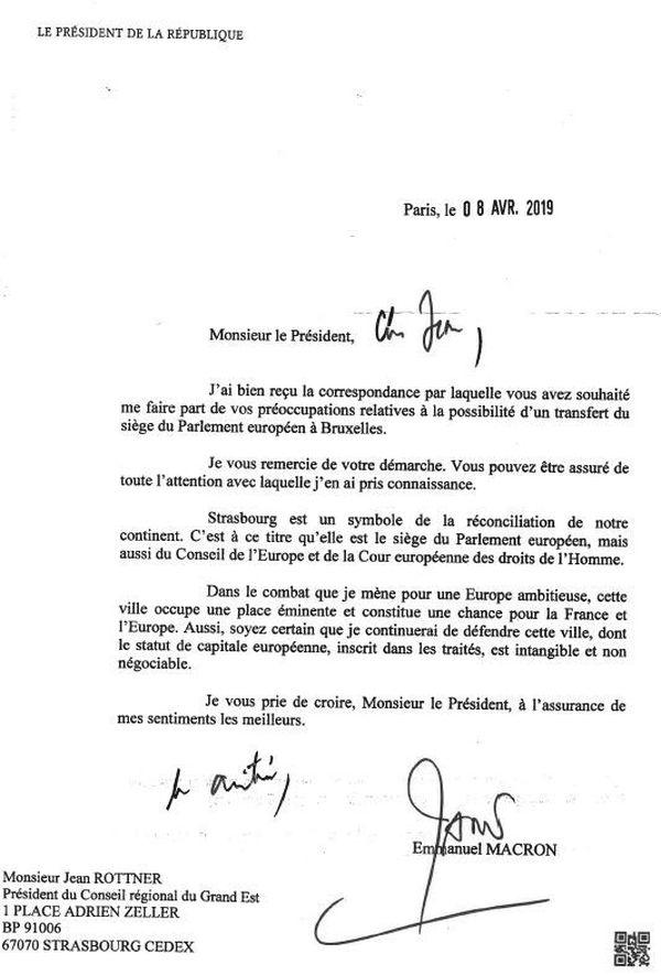 La lettre du Président Macron en faveur du maintient du siège du Parlement européen à Strasbourg