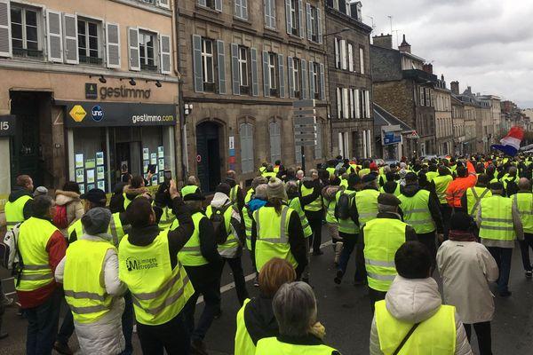 Les Gilets Jaunes à Limoges lors d'une manifestation le 1er décembre 2018.