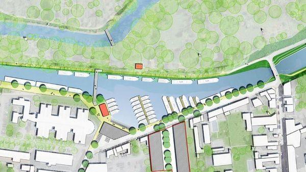 Sur ce plan, on distingue le futur élargissement du canal de Briare. Entouré de rouge, l'emplacement actuel du bâtiment désaffecté de la CAPROGA
