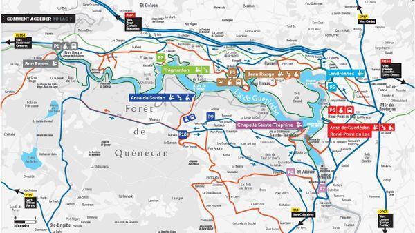 Plan de circulation pour accéder au lac de Guerlédan