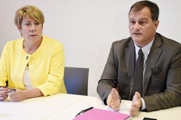 France Jamet, présidente du groupe FN, et Louis Aliot, vice-président du FN