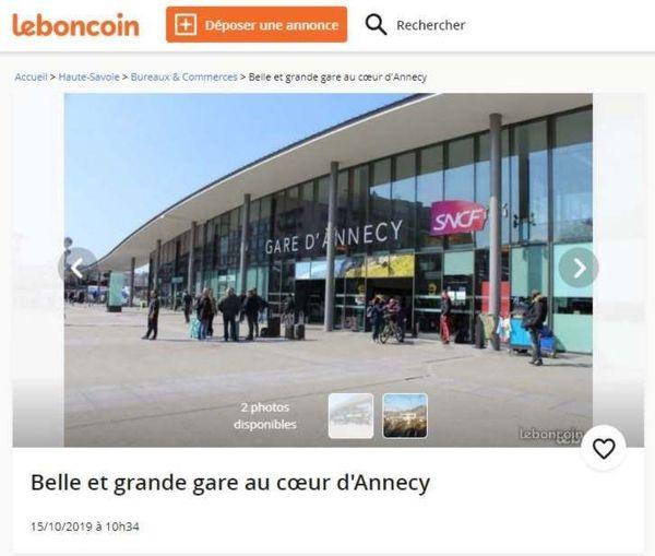 La gare d'Annecy proposée à la vente sur un site de petites annonces.