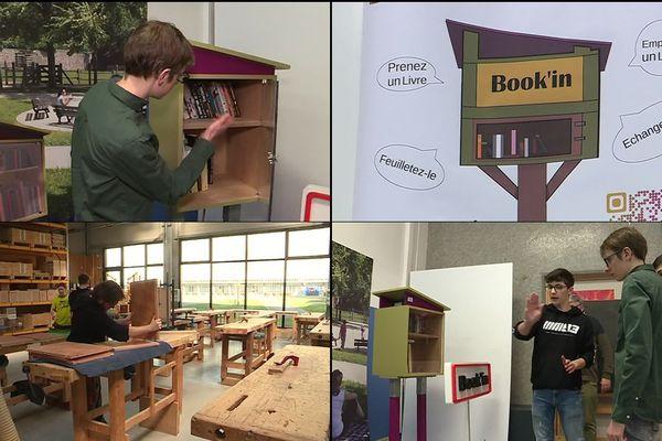 L'entreprise Book'in, créée par des élèves de l'Institut Lemonnier, a déjà vendu quelques unes de ses bibliothèques à partager à des municipalités.