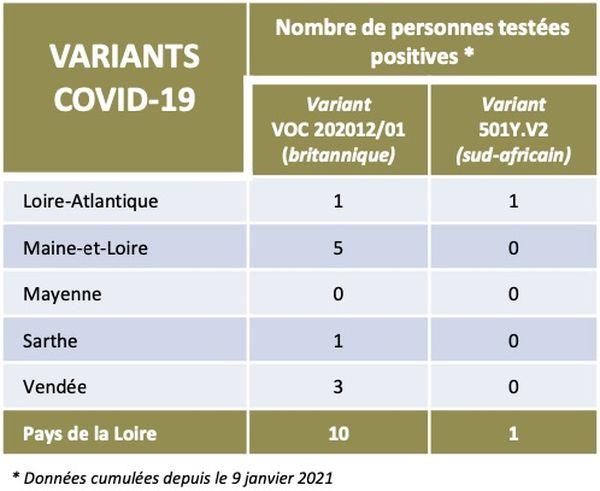 Les chiffres des variants de la covid-19 détectés dans les Pays de la Loire