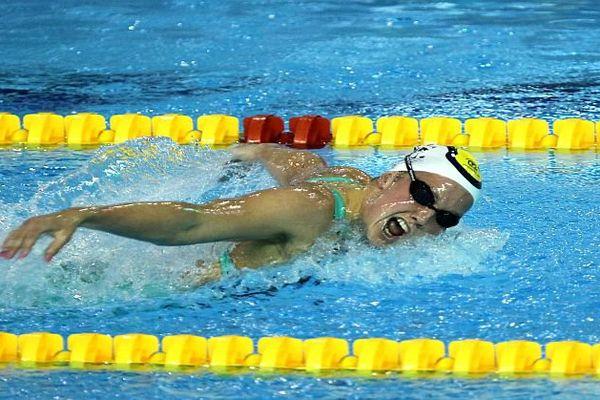 Montpellier - Lara Grangeon, lors des championnats de France de natation - 29 mars 2016.