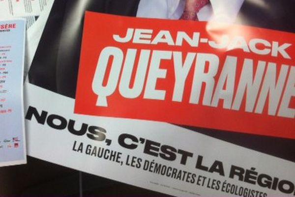 L'affiche de la nouvelle alliance de la gauche autour de Jean-Jack Queyranne pour le second tour des Régionales
