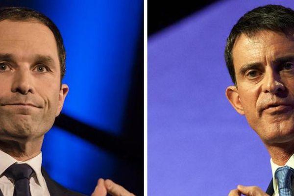 Les deux finalistes de la primaire de la gauche pour la présidentielle de 2017, Benoît Hamon et Manuel Valls.  (AFP)