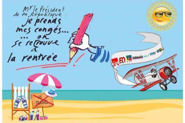 Les citoyens sont invités par l'intersyndicale à envoyer cette carte postale au président de la République.