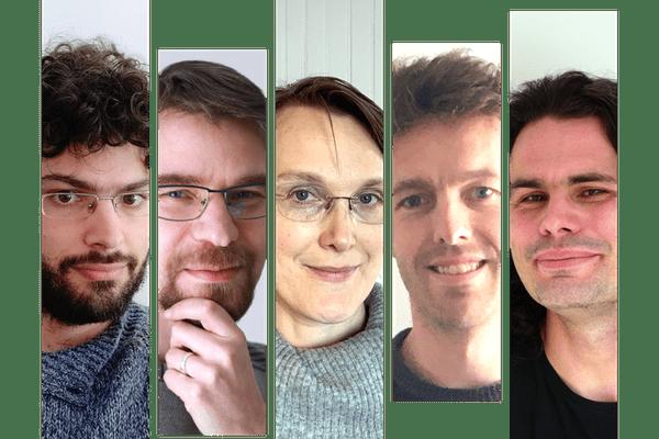 Gianluca Micchi (Lille), Richard Groult (Amiens), Florence Levé (Amiens), Louis Bigo (Lille) et Mathieu Giraud (Lille) forme l'une des deux équipes françaises lors du AI Song Contest 2020
